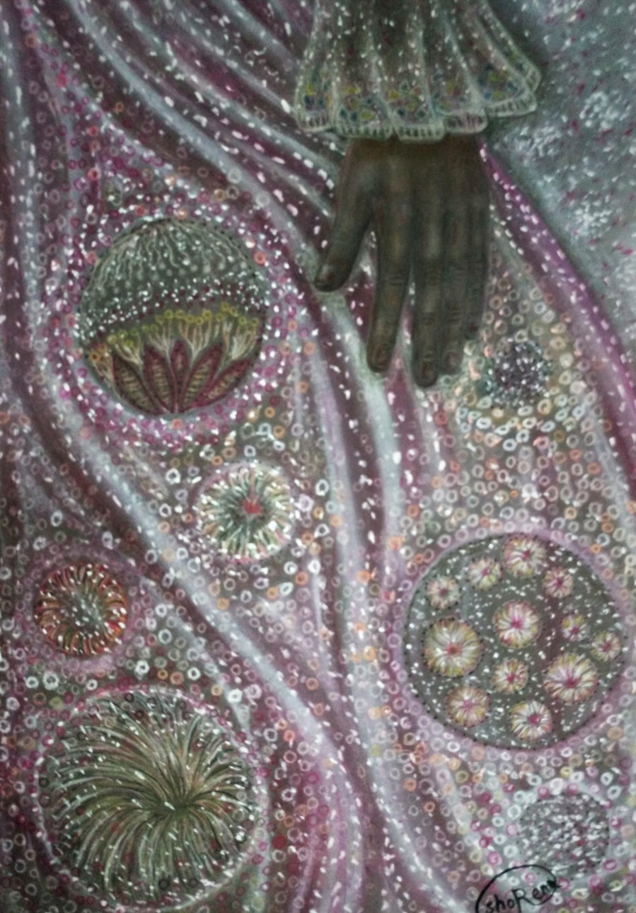 Close up of 'Amelia'. Drawing by Shorena Ratiani. Chalk pastel on paper