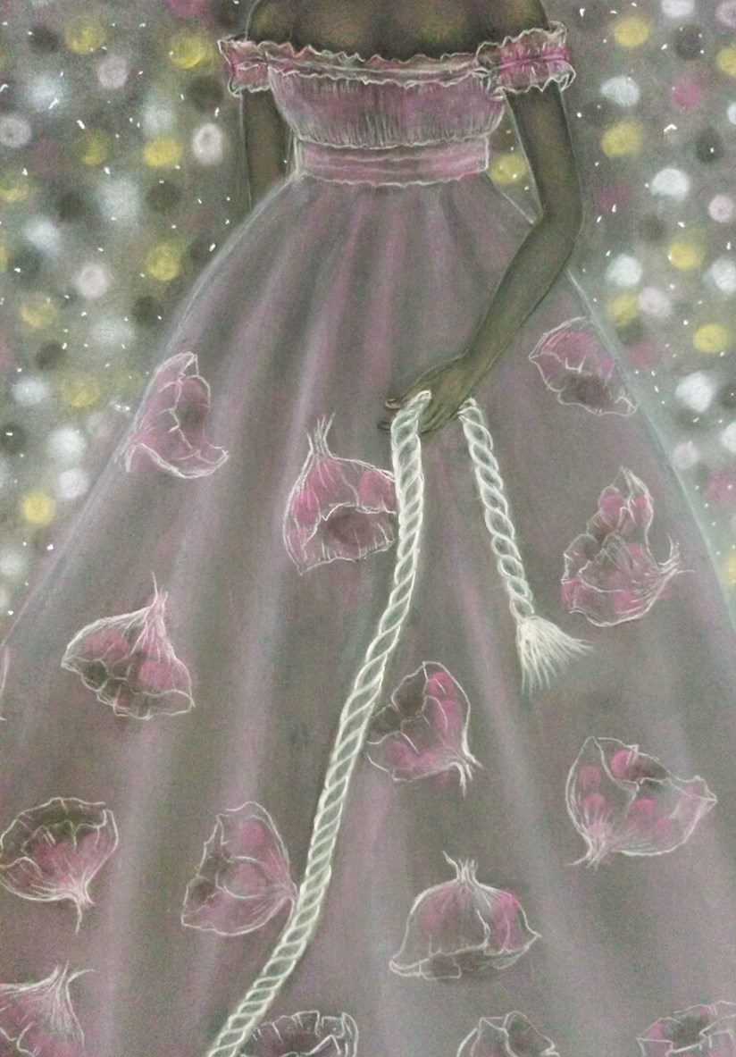 Detail of 'Lynette'. Chalk pastel drawing by Shorena Ratiani