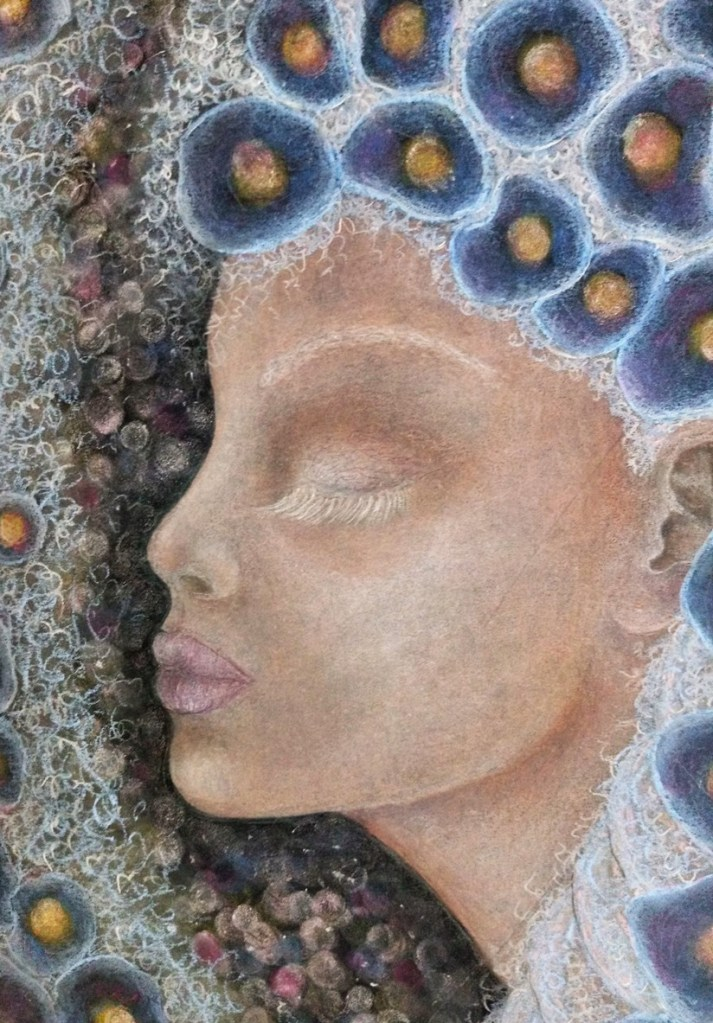 Close up of 'Adelynn'. Drawing by Shorena Ratiani. Chalk pastel on paper.