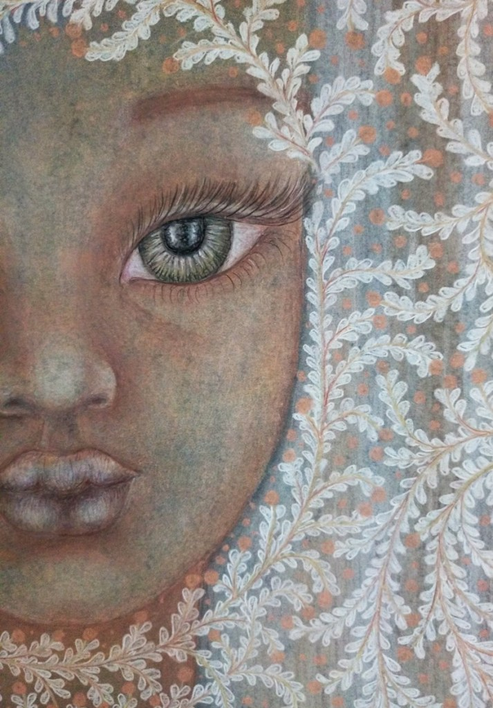 Close up of 'Annabelle'. Drawing by Shorena Ratiani. Chalk pastel on paper.