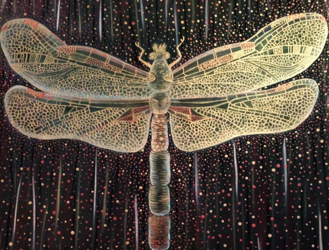 'Dragonfly'. Painting by Shorena Ratiani. Acrylic on paper.