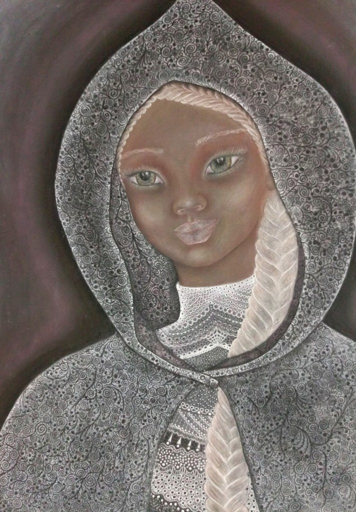 'Evelyn'. Drawing by Shorena Ratiani. Chalk pastel on paper.