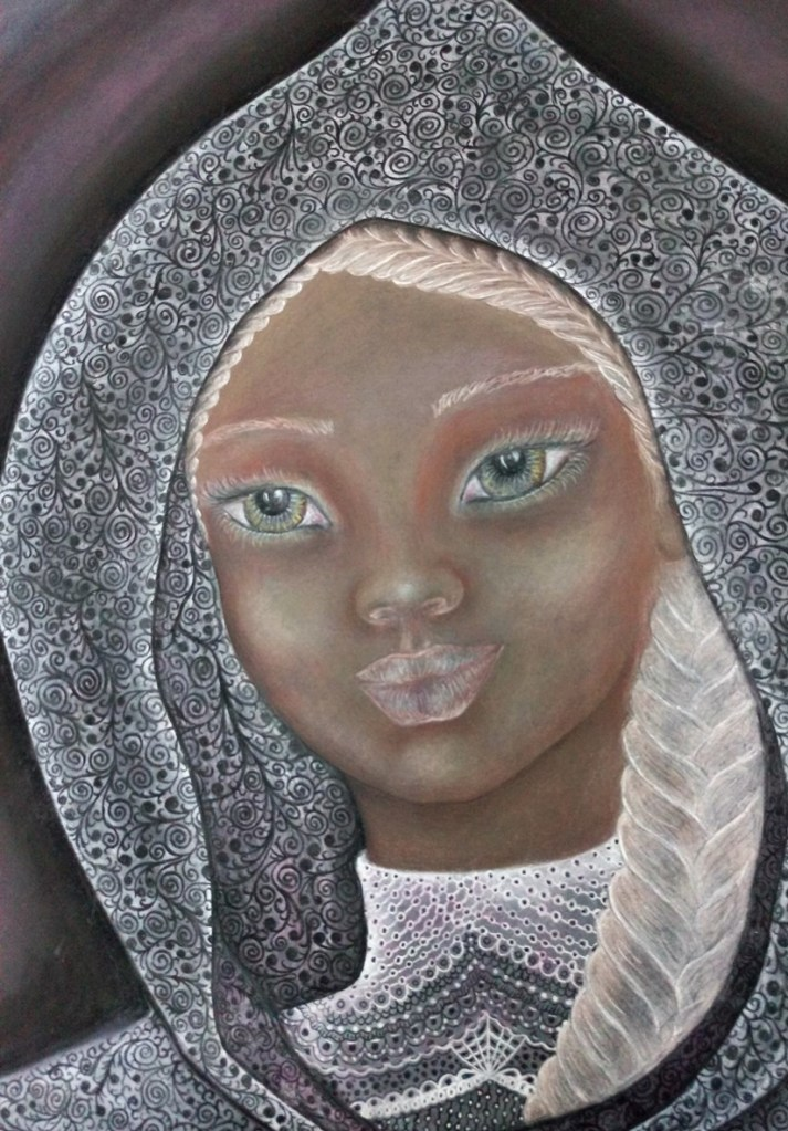 Close up of 'Evelyn'. Drawing by Shorena Ratiani. Chalk pastel on paper.
