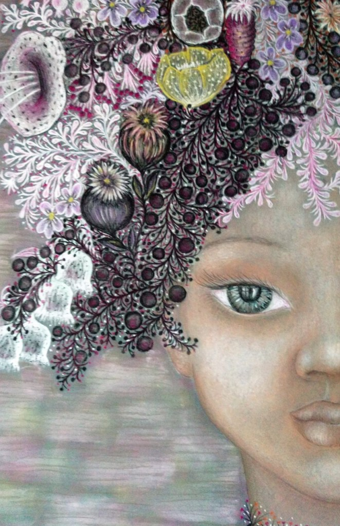 Close up of 'Giselle'. Drawing by Shorena Ratiani. Chalk pastel on paper.