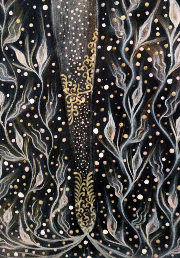 Detail of 'Golden Wings'. Painting by Shorena Ratiani. Tempera and acrylic on paper.