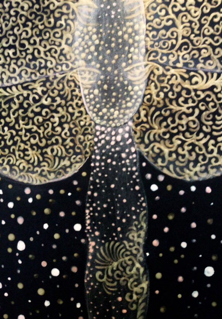 Close up of 'Golden Wings'. Painting by Shorena Ratiani. Tempera and acrylic on paper.
