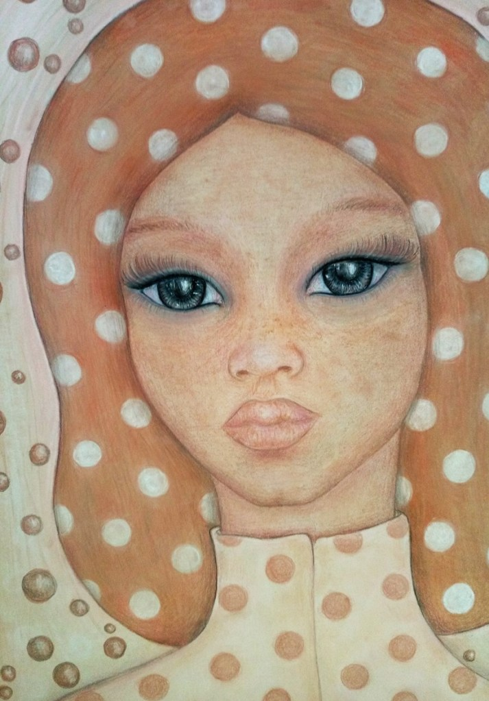 Close up of 'Mathilda'. Drawing by Shorena Ratiani. Chalk pastel on paper.