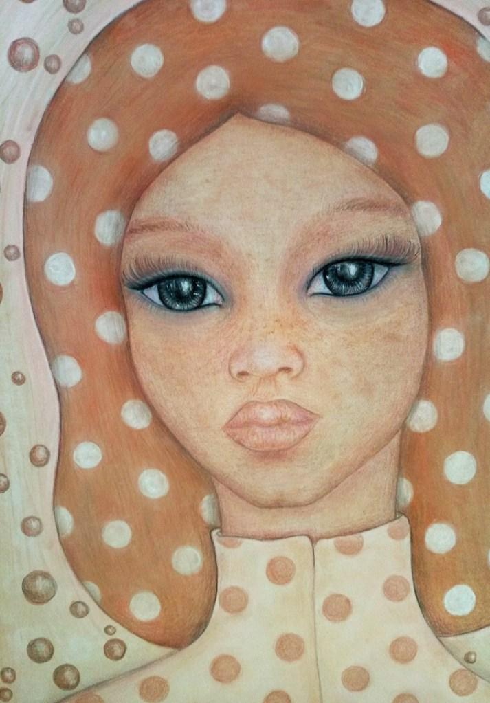 Close up of 'Mathilda'. Drawing by Shorena Ratiani. Chalk pastel on paper.