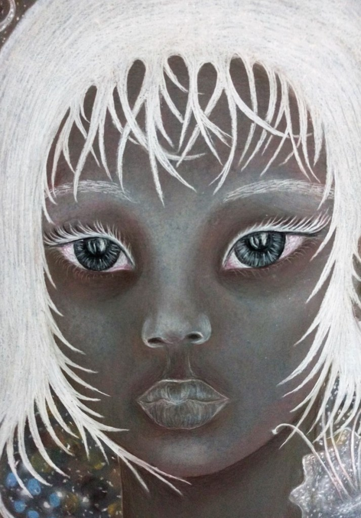 Close up of 'Maya'. Drawing by Shorena Ratiani. Chalk pastel on paper.