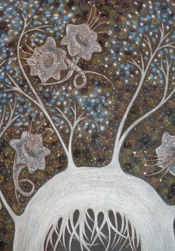 Detail of 'Maya'. Drawing by Shorena Ratiani. Chalk pastel on paper.