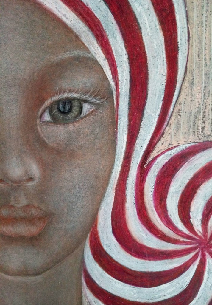 Close up of 'Nicolette'. Drawing by Shorena Ratiani. Chalk pastel on paper.