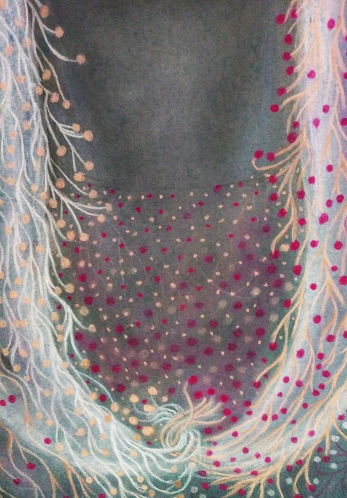 Detail of 'Odette'. Drawing by Shorena Ratiani. Chalk pastel on paper.