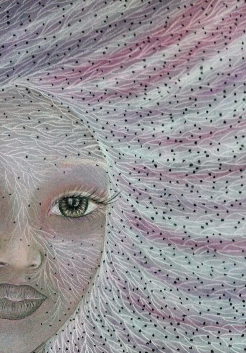 Close up of 'Paulette'. Drawing by Shorena Ratiani. Chalk pastel on paper.