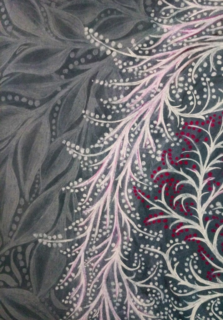 Close up of 'Savannah'. Drawing by Shorena Ratiani. Chalk pastel on paper.