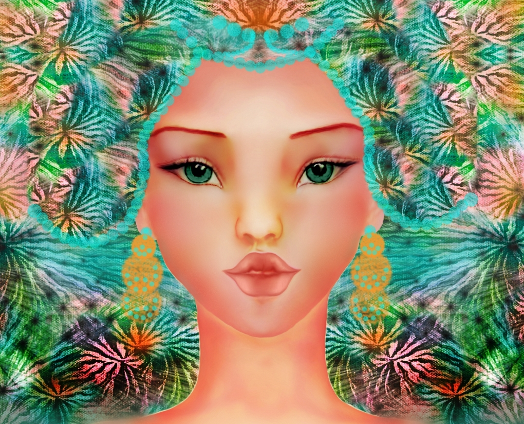 surreal digital painting of a girl by Shorena Ratiani