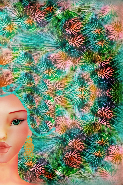 surreal digital painting of a girl by Shorena Ratiani